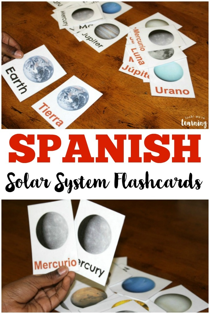 Printable Spanish Flashcards: Spanish Solar System Flashcards - Look - Free Printable Solar System Flashcards