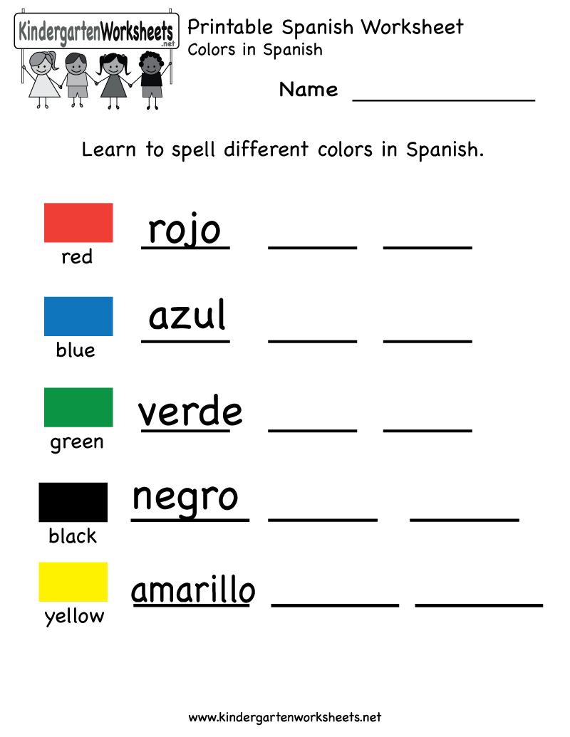 Printable Spanish Worksheet - Free Kindergarten Learning Worksheet - Free Printable Spanish Numbers
