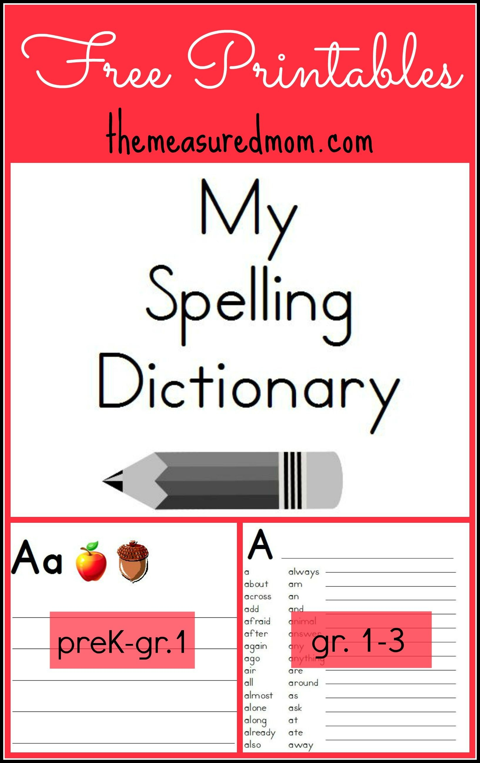 Printable Spelling Dictionary For Kids   Free Printables - Free Printable Picture Dictionary For Kids