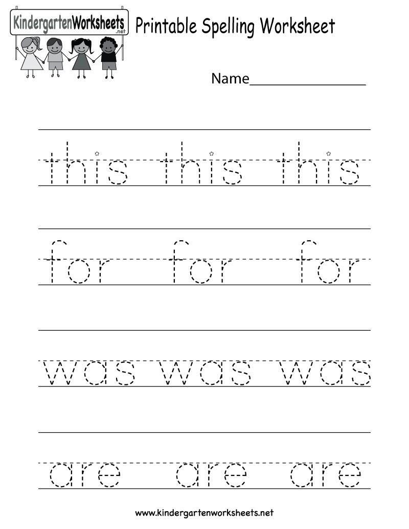 Printable Spelling Worksheet - Free Kindergarten English Worksheet - Free Printables For Kindergarten