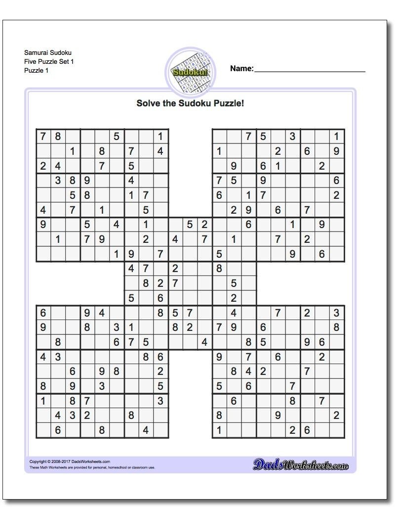 Printable Sudoku Samurai! Give These Puzzles A Try, And You'll Be - Sudoku High Fives Free Printable