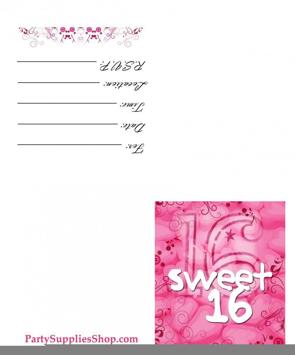 Printable Sweet 16 Birthday Invitations — Birthday Invitation Examples - Free Printable 16Th Birthday Party Invitation Templates