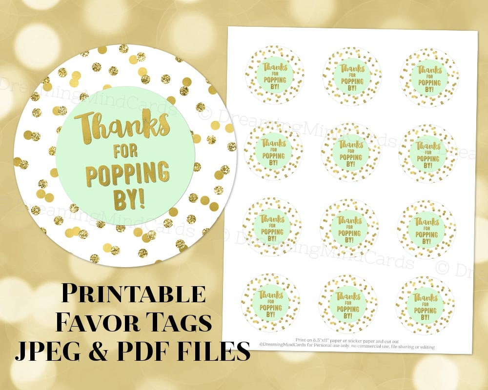 Printable Thanks For Poppingfavor Tags Light Mint Green And Gold  Confetti For Baby Shower Popcorn Instant Digital Download - Thanks For Popping By Free Printable