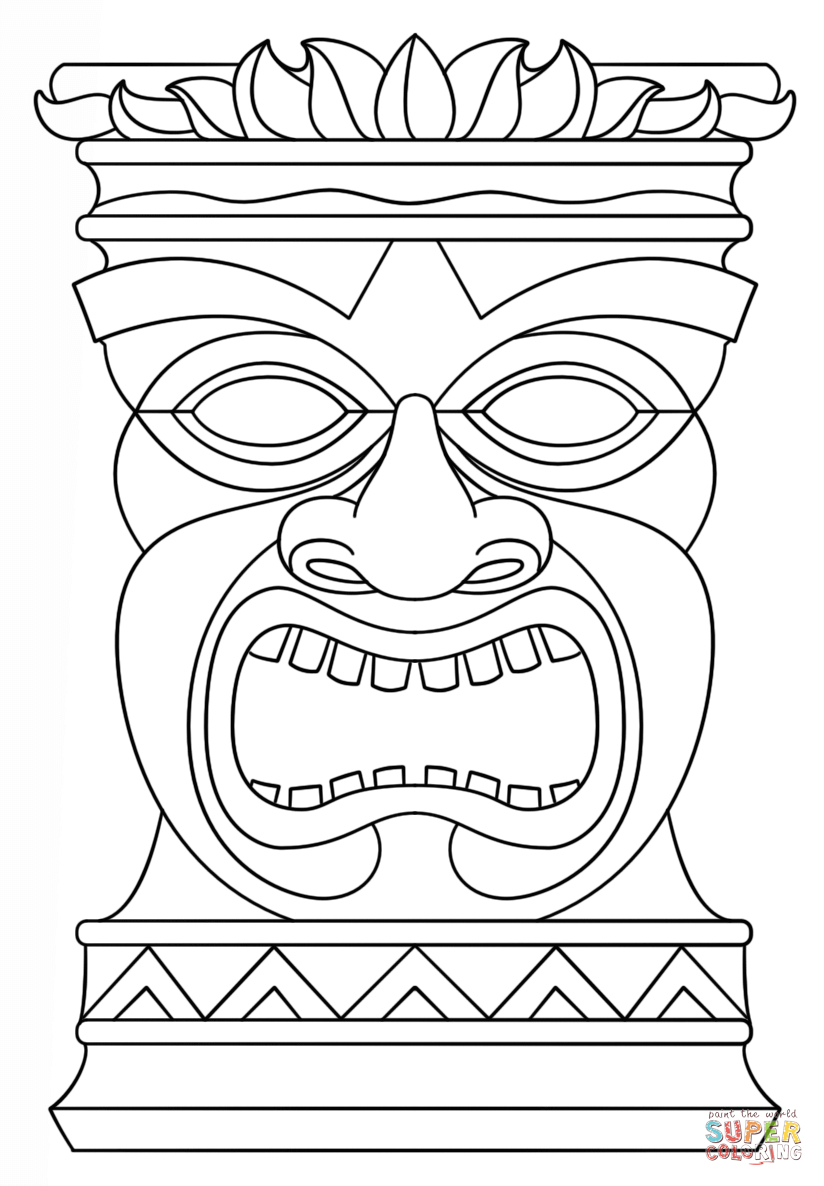 Printable Tiki Mask Coloring Pages - Coloring Home - Tiki Coloring Pages Free Printables