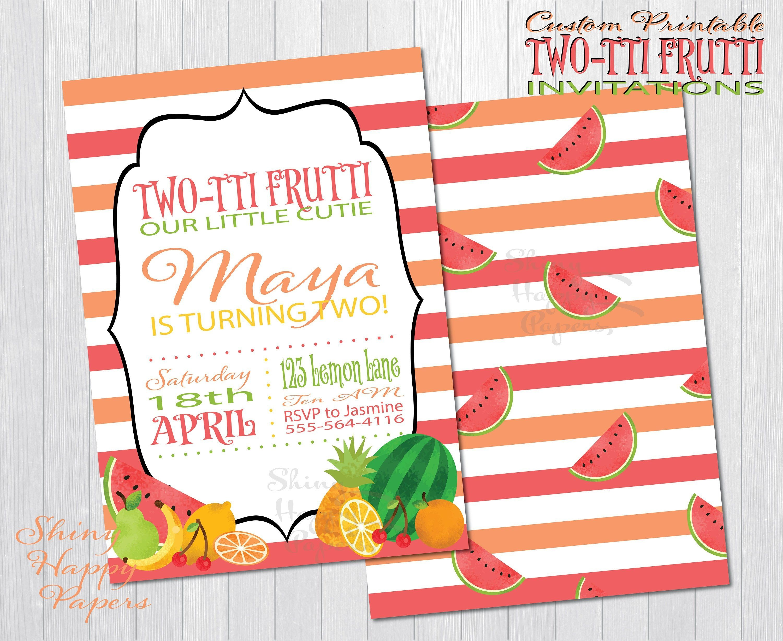 Printable Two-Tti Frutti Party Invitation - Free Stickers | Digital - Tutti Frutti Free Printables