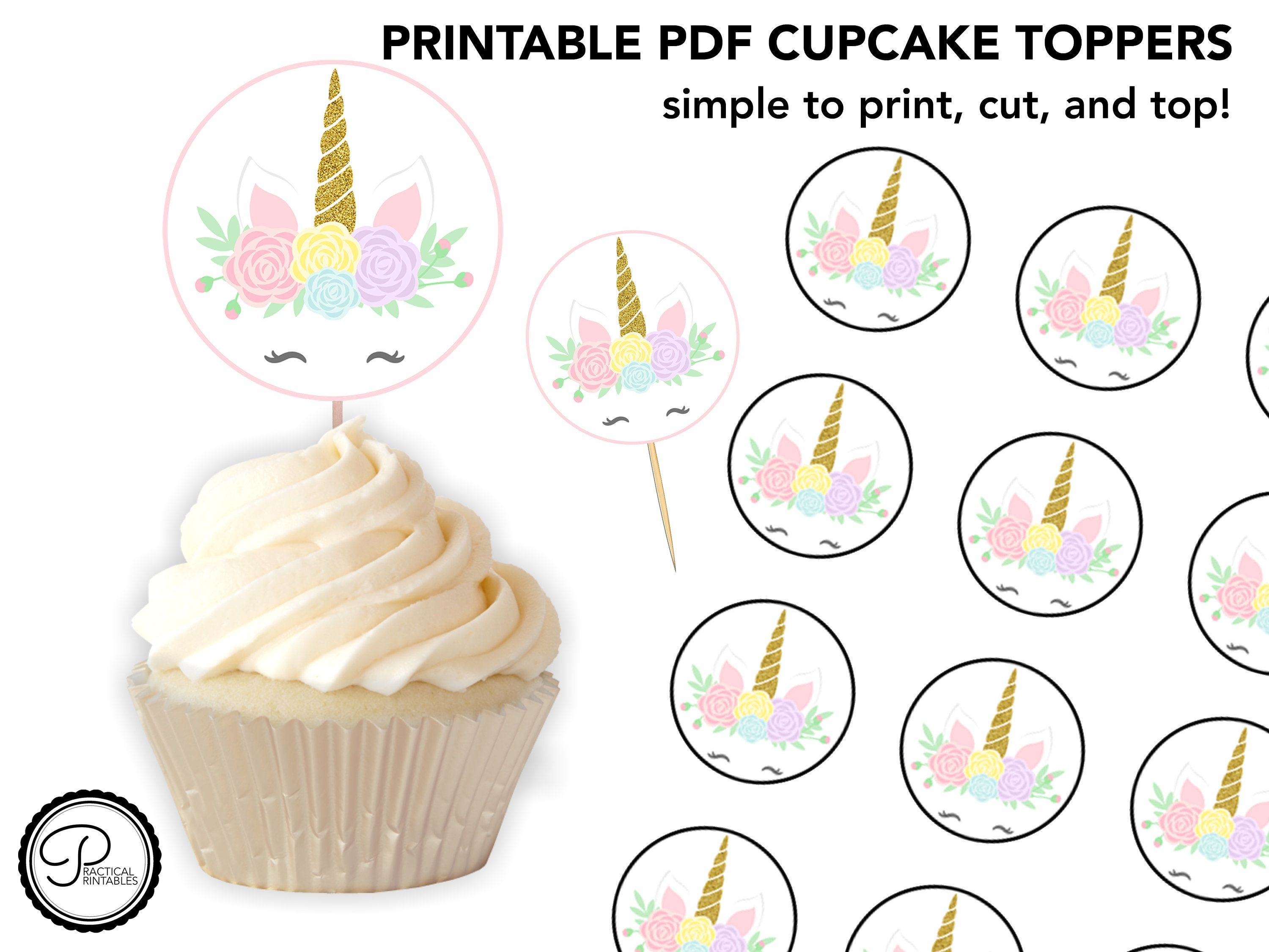 Printable Unicorn Cupcake Toppers - Perfect For A Simple Party - Free Printable Unicorn Cupcake Toppers