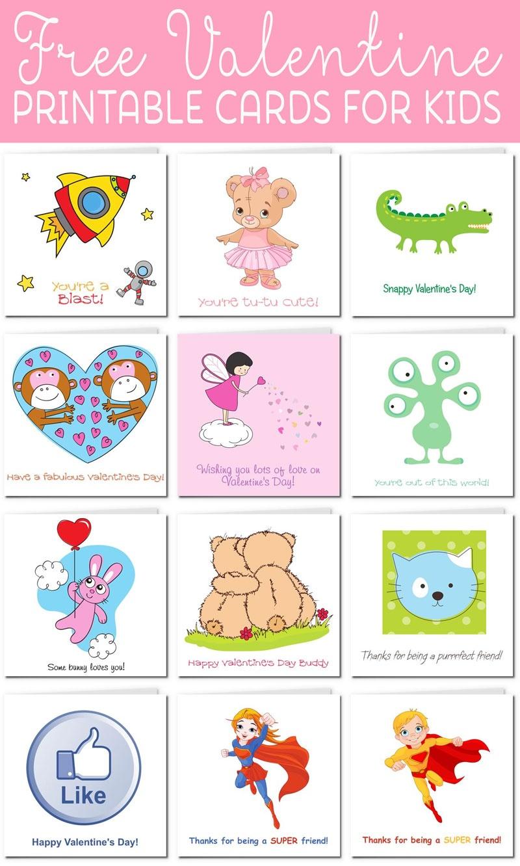 Printable Valentine Cards For Kids - Free Printable Valentines Day Cards Kids