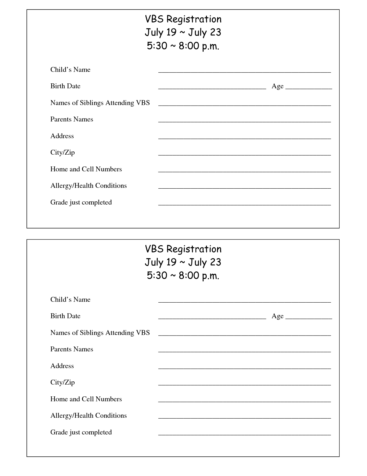 Printable Vbs Registration Form Template | Conference | Registration - Free Printable Vbs Registration Forms