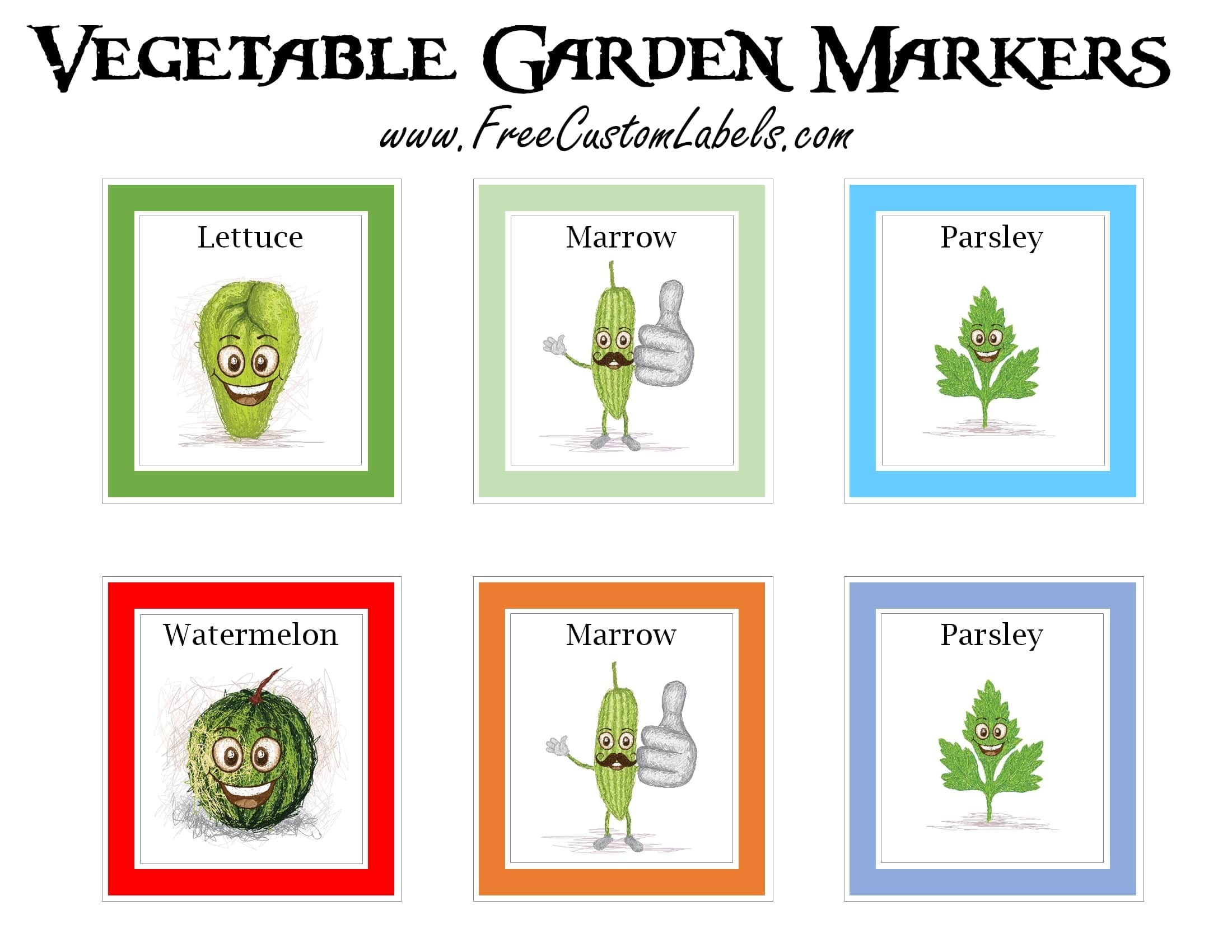 Printable Vegetable Garden Markers | Free Instant Download - Free Printable Plant Labels