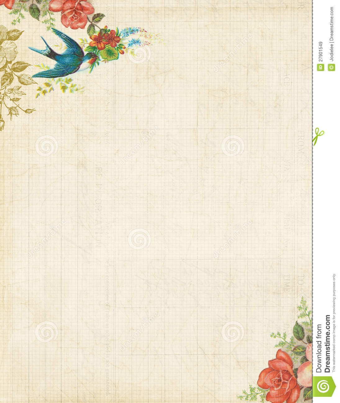 Printable Vintage Bird And Roses Stationary Or Background Stock - Free Printable Vintage Stationary