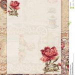 Printable Vintage Shabby Chic Style Floral Stationary On Antique   Free Printable Vintage Stationary