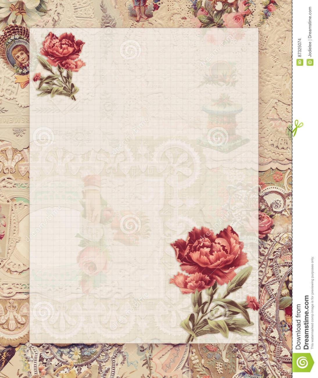 Printable Vintage Shabby Chic Style Floral Stationary On Antique - Free Printable Vintage Stationary