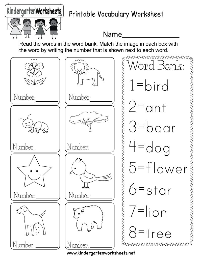 Printable Vocabulary Worksheet - Free Kindergarten English Worksheet - Free Printable Language Arts Worksheets For Kindergarten