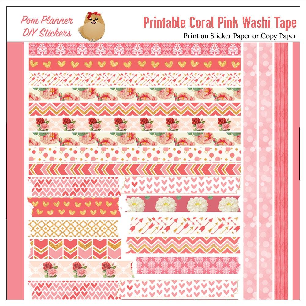 Printable Washi Tape Pink & Coral Roses Pdf Bible Journaling   Etsy - Free Printable Washi Tape