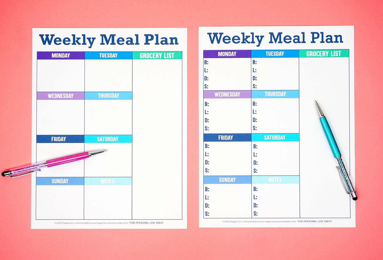 Printable Weekly Meal Planner Template - Happiness Is Homemade - Weekly Menu Free Printable