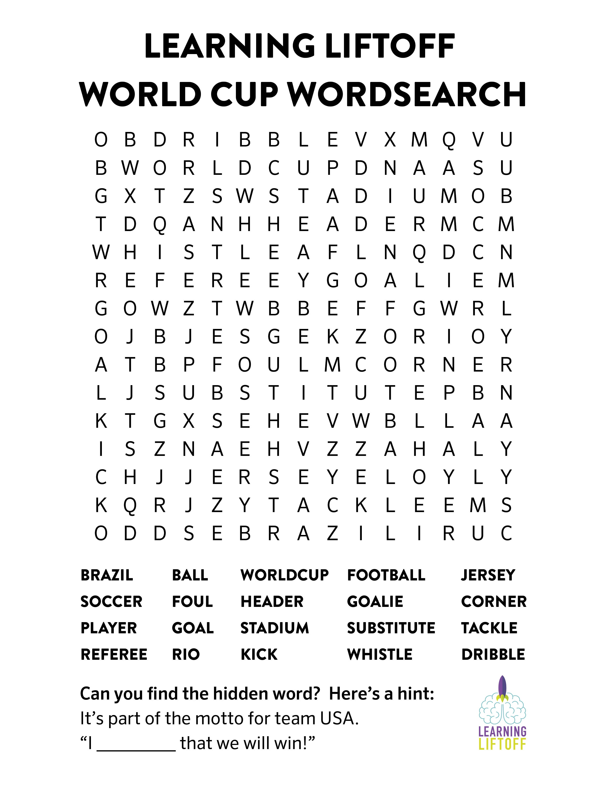 Printable World Cup Word Search - Learning Liftoff - French Word Searches Free Printable