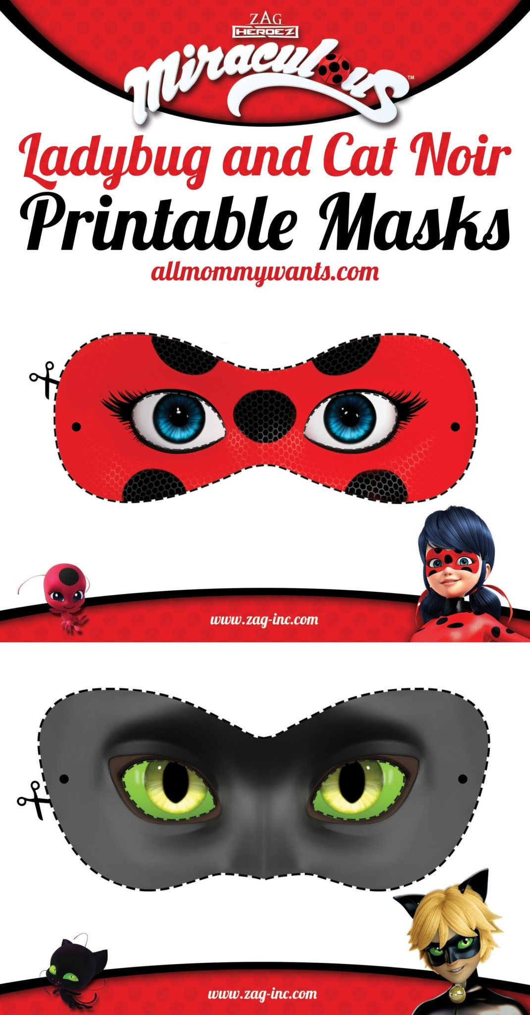 Printables: Miraculous Adventures Of Ladybug And Cat Noir Masks - Ladybug Themed Birthday Party With Free Printables