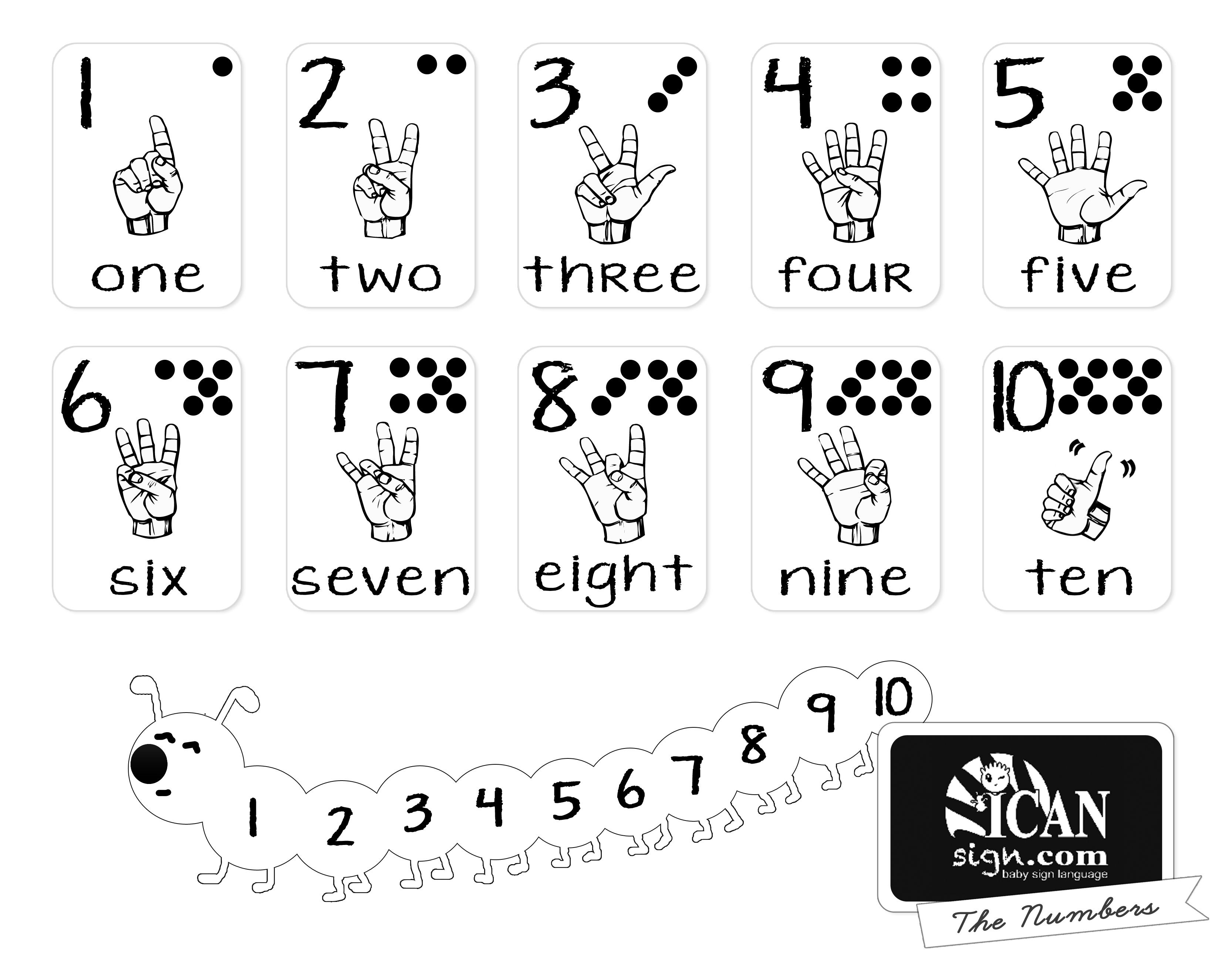Printer-Friendly Asl Numbers Chart - Free Printable From Icansign - Free Sign Language Printables
