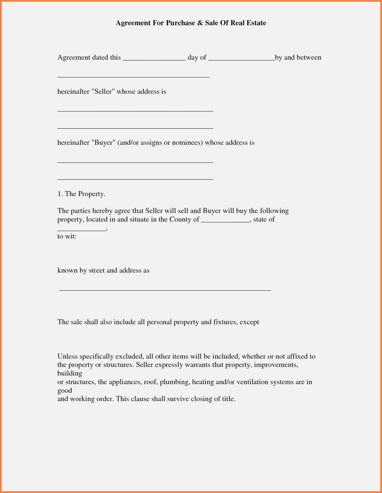 Purchase Agreement Contract Form Good Free Printable Real Estate - Free Printable Real Estate Contracts