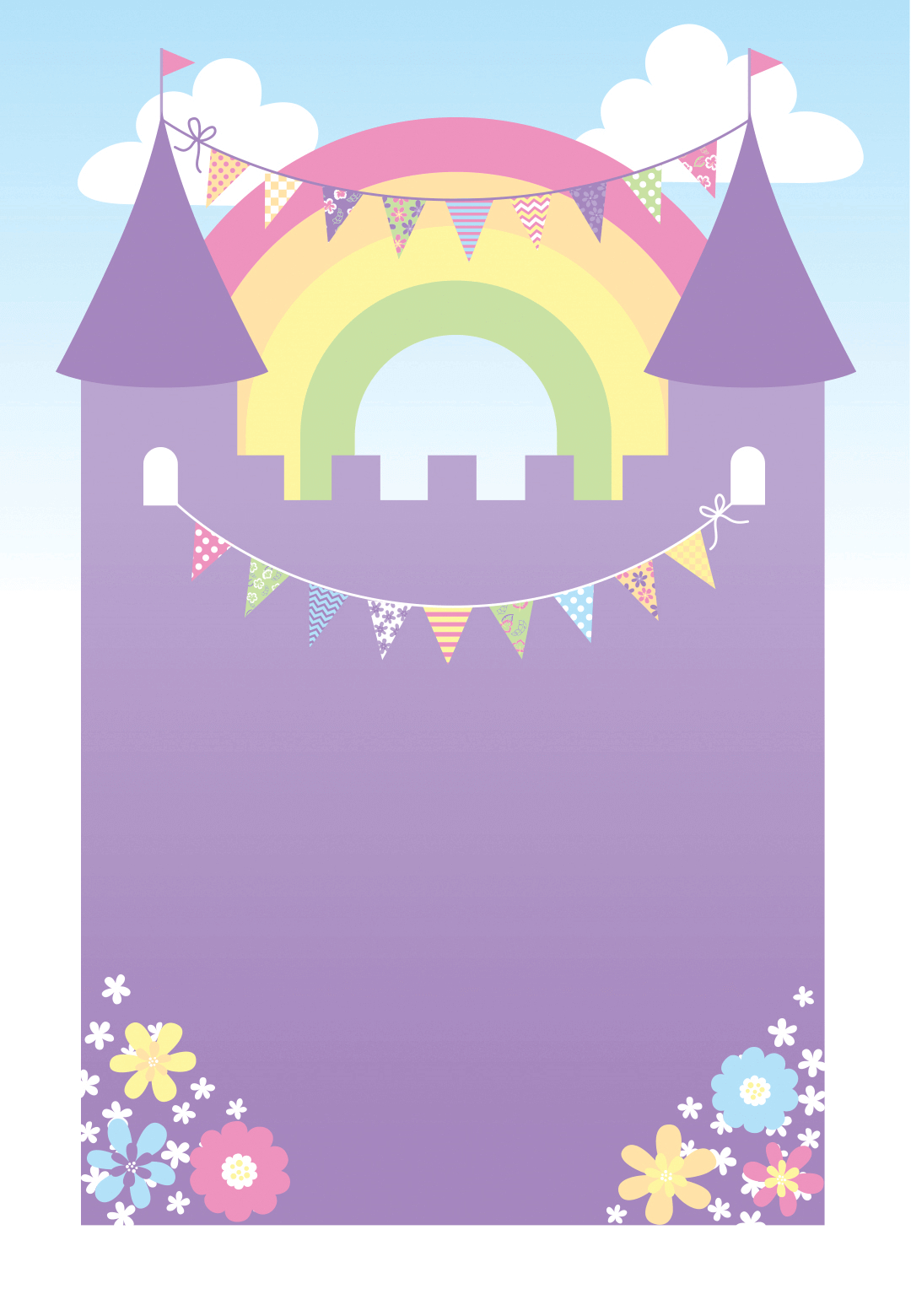 Purple Castle - Free Printable Birthday Invitation Template - Free Printable Castle Templates