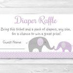 Purple Chevron Elephant Printable Baby Shower Diaper Raffle Tickets   Free Printable Diaper Raffle Tickets Elephant