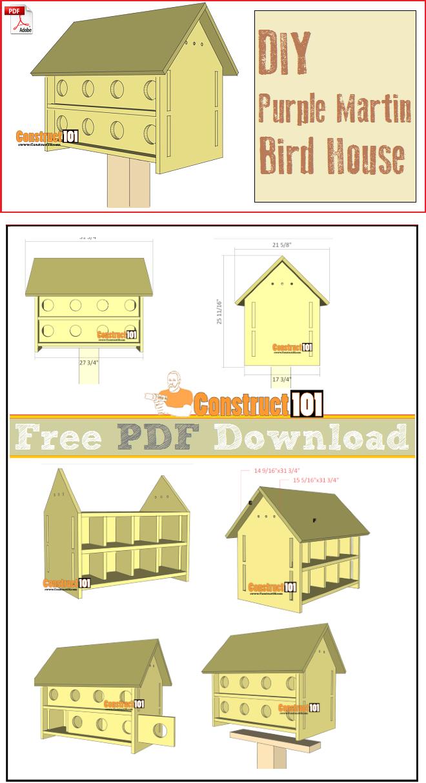 Purple Martin Bird House Plans 16 Units - Pdf Download | Woodworking - Free Printable Purple Martin House Plans