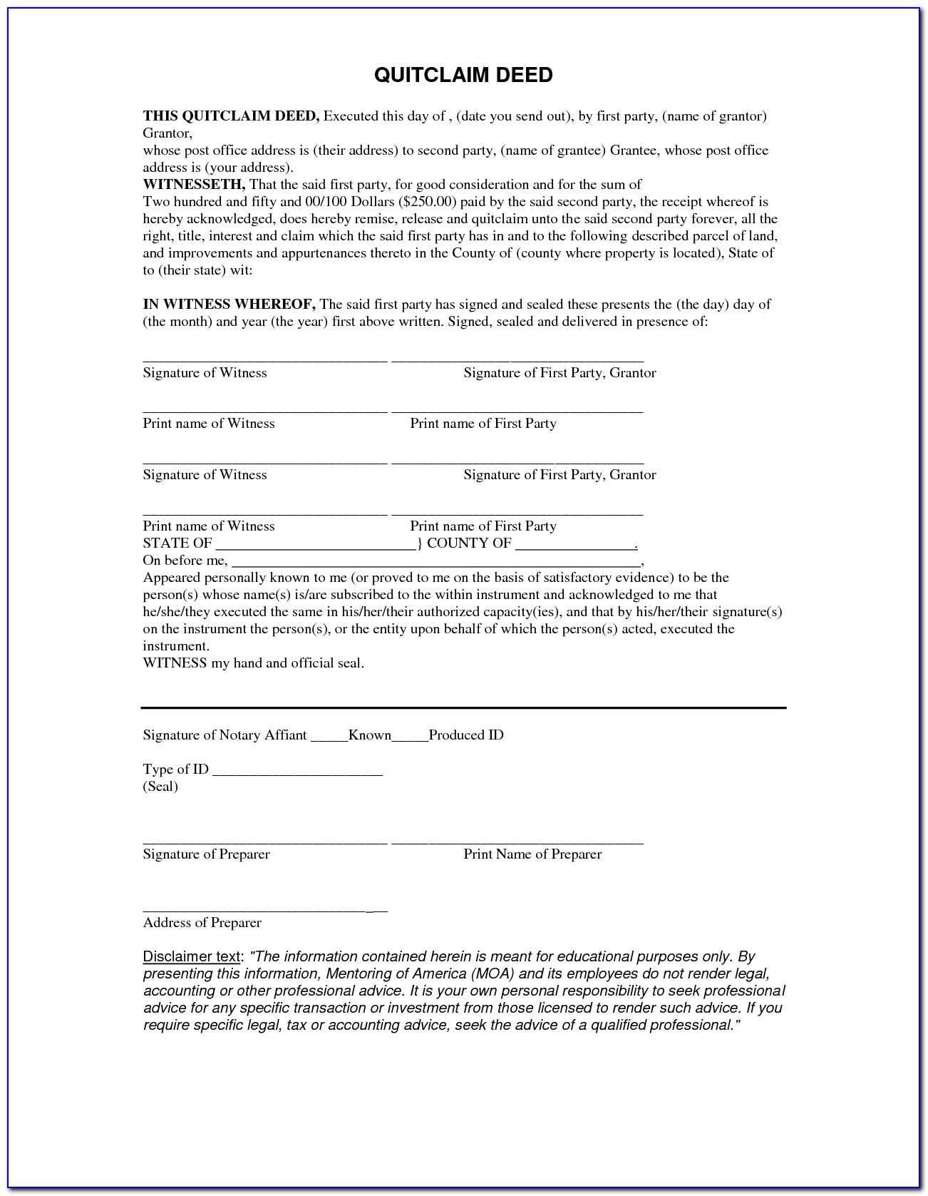Quit Claim Deed Form Missouri Free - Form : Resume Examples #by21P45Mdn - Free Printable Quit Claim Deed Form Indiana