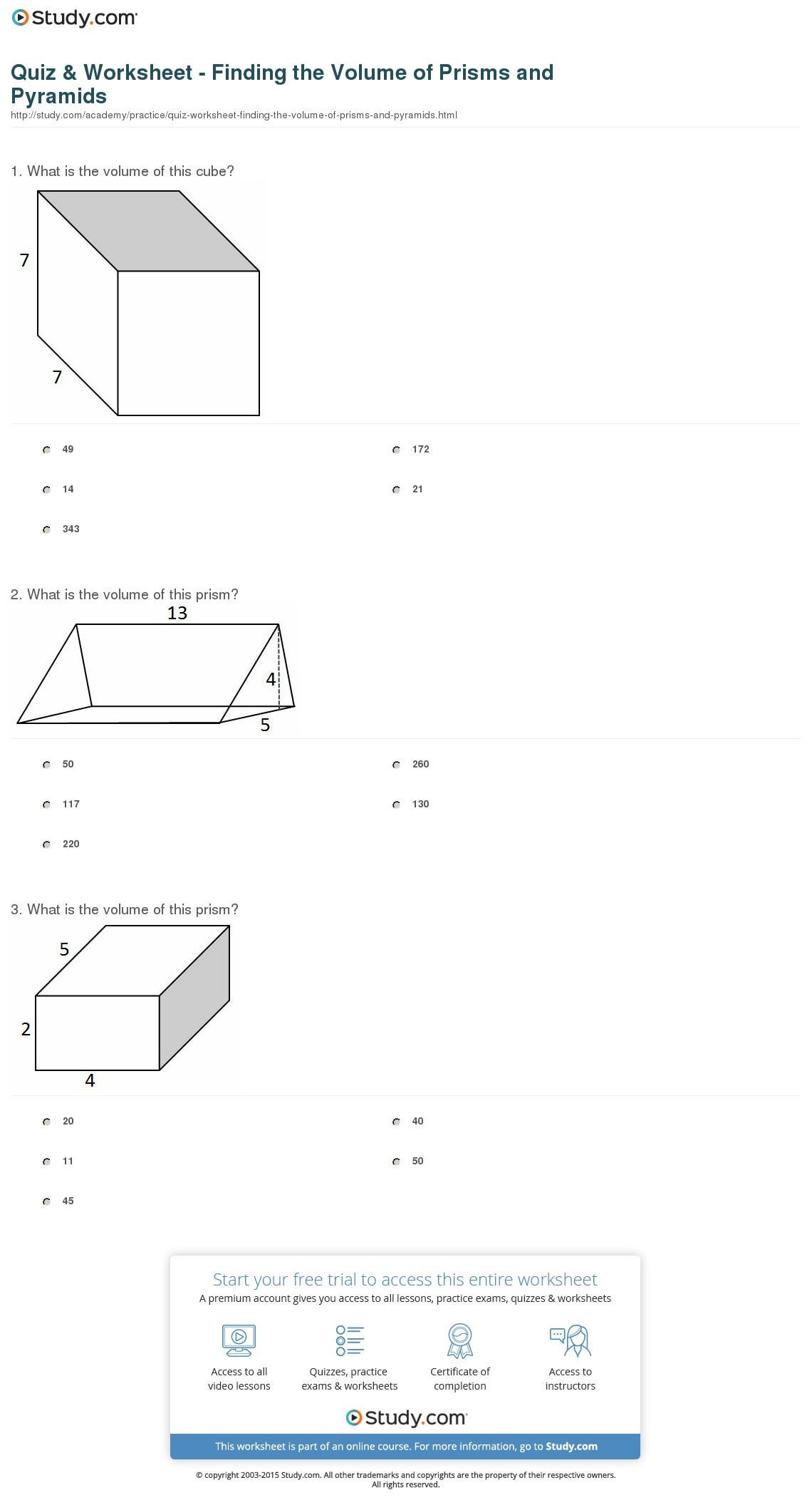 Quiz & Worksheet - Finding The Volume Of Prisms And Pyramids | Study - Free Printable Volume Of Rectangular Prism Worksheets