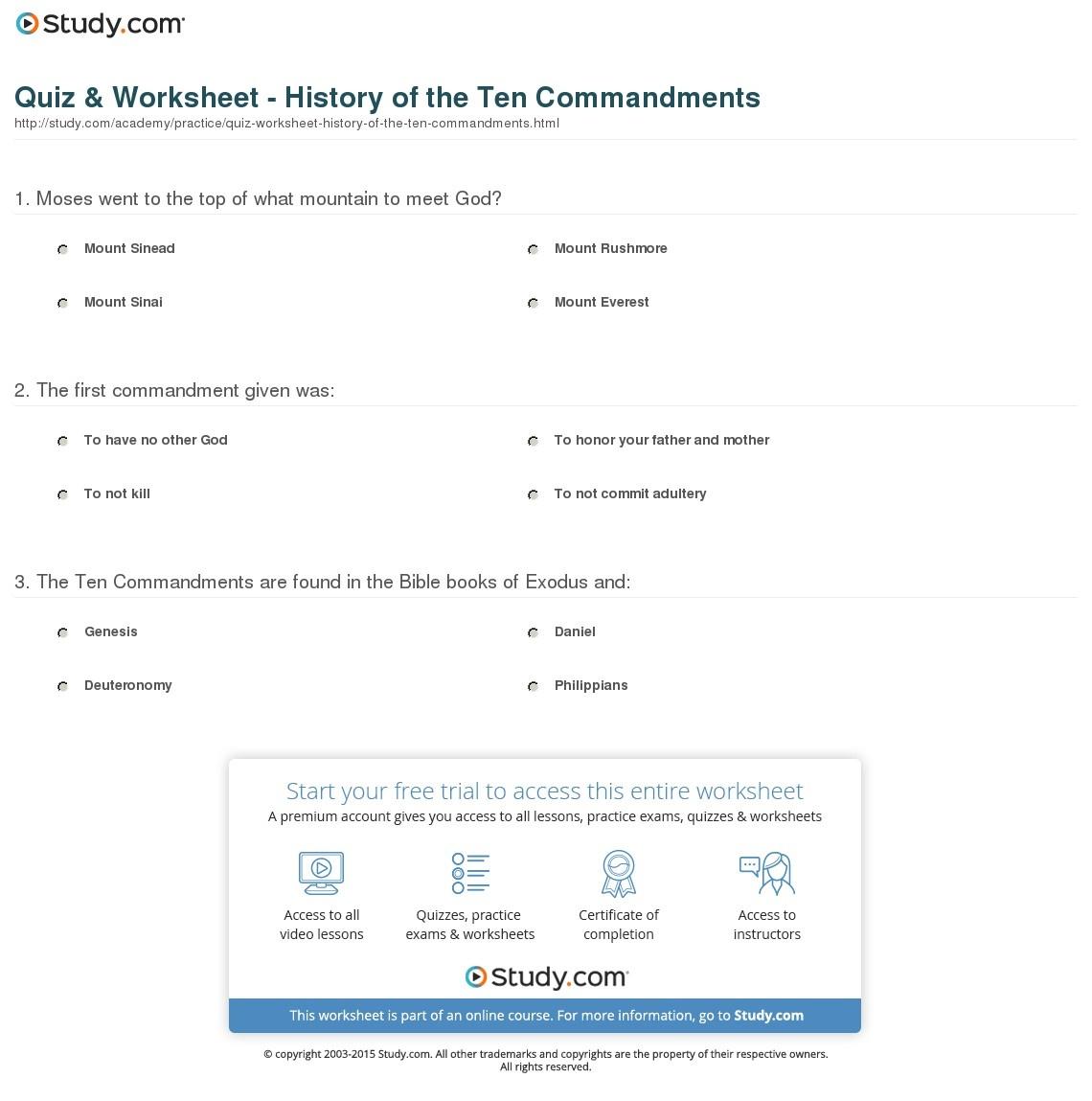Quiz & Worksheet - History Of The Ten Commandments   Study - Free Catholic Ten Commandments Printable