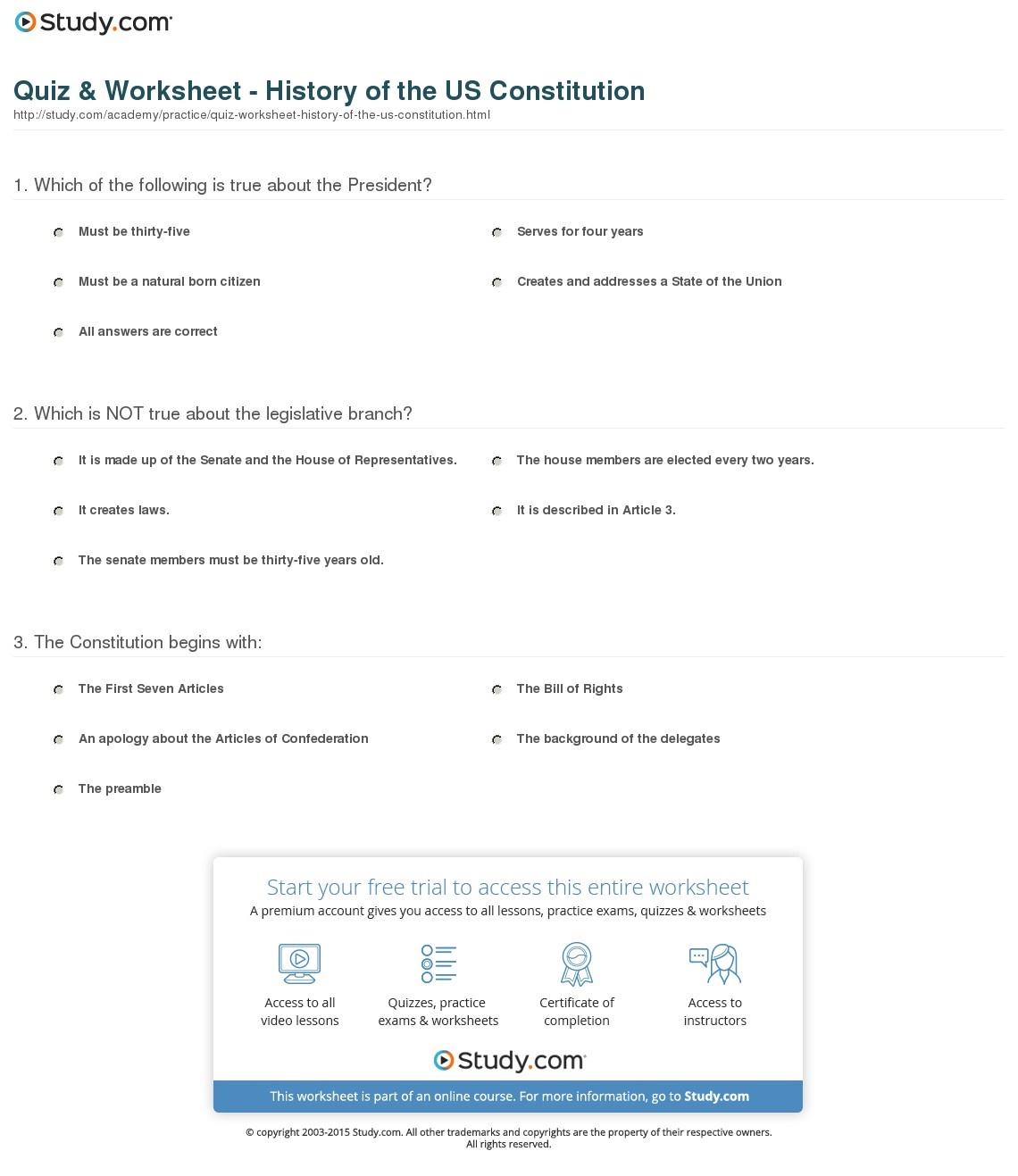 Quiz & Worksheet - History Of The Us Constitution | Study - Free Printable Us Constitution Worksheets