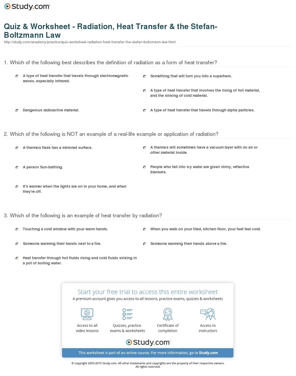 Quiz & Worksheet - Radiation, Heat Transfer & The Stefan-Boltzmann - Free Printable Heat Transfer Worksheets