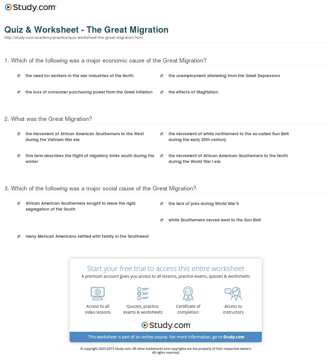 Quiz & Worksheet - The Great Migration | Study - Free Printable Black History Trivia Questions And Answers