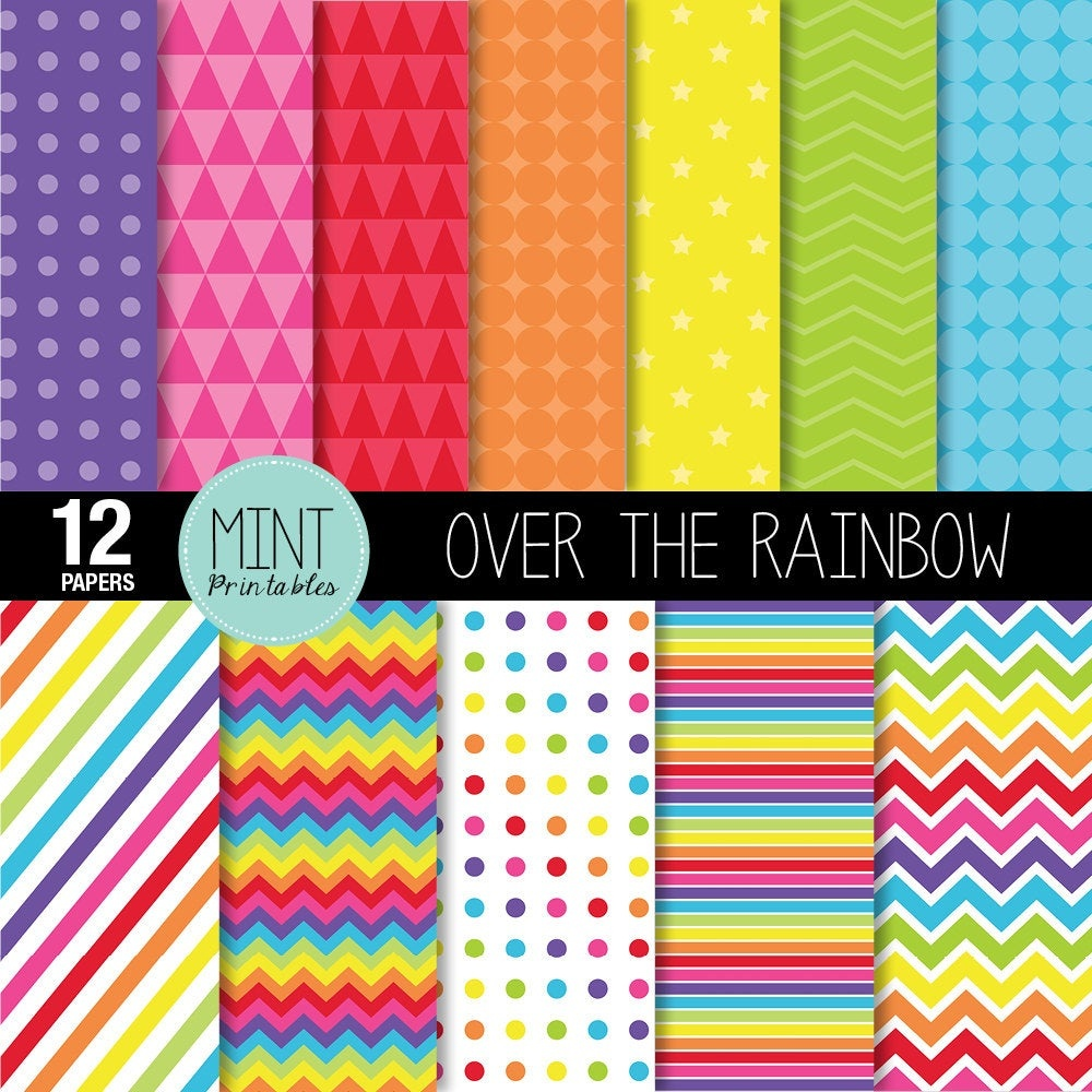 Rainbow Digital Paper Bright Rainbow Colored Scrapbooking | Etsy - Free Printable Pattern Paper Sheets