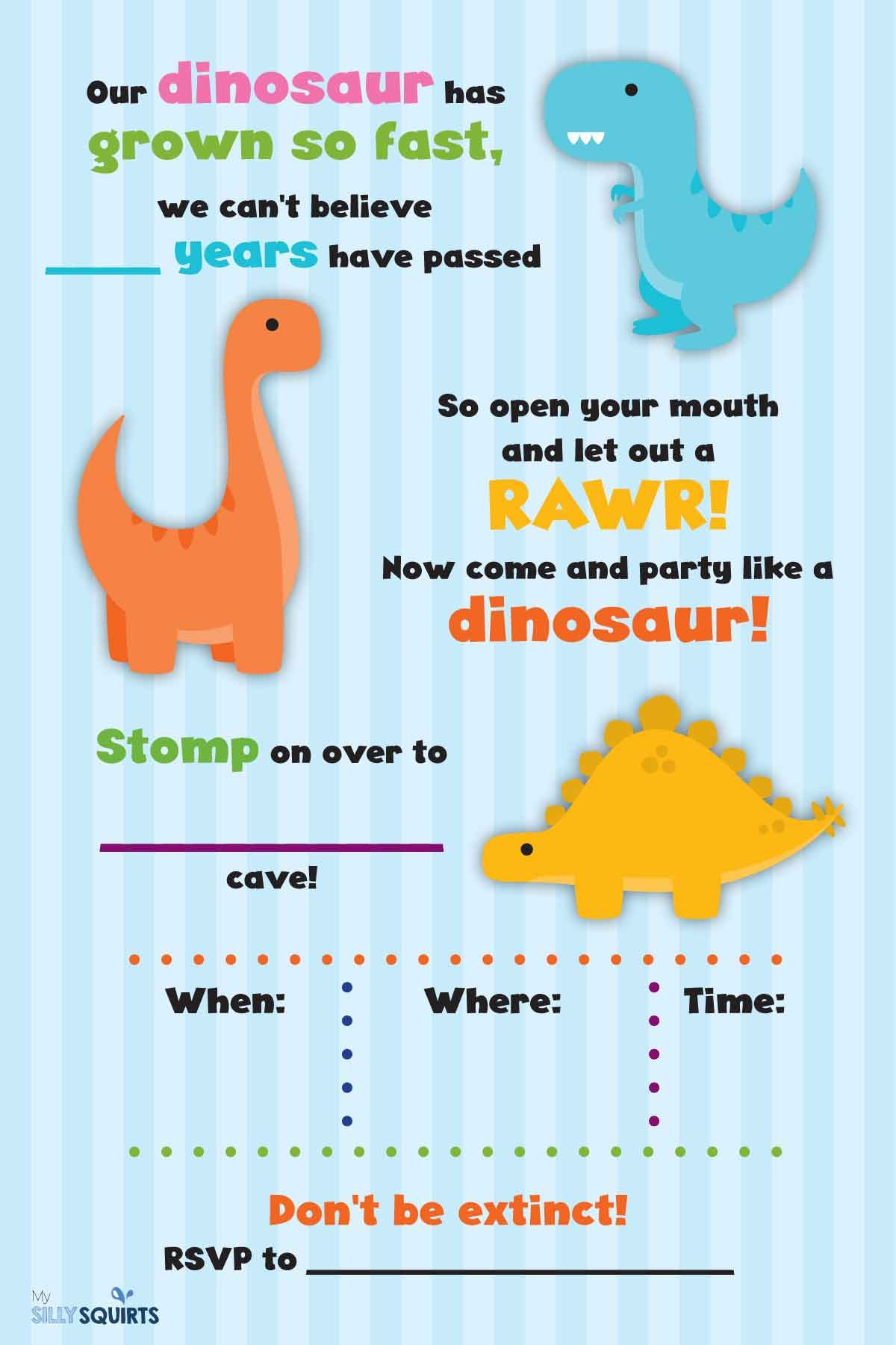 Rawr! Free Dinosaur Birthday Party Printables   My Silly Squirts - Free Printable Dinosaur Labels