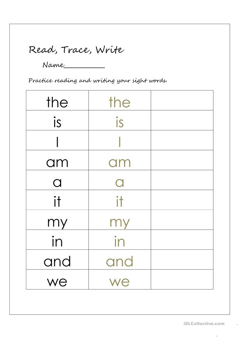 Read, Trace, And Write Sight Words Worksheet - Free Esl Printable - Free Printable Sight Word Reading Passages