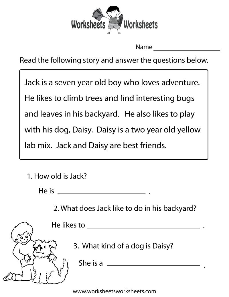 Reading Comprehension Practice Worksheet | Education | 1St Grade - Free Printable Reading Comprehension Worksheets For Kindergarten