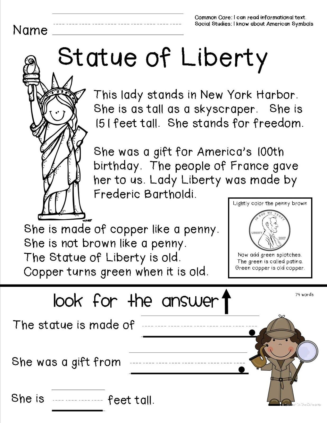 Reading Comprehension Sheet About The Statue Of Liberty For Primary - Free Printable Reading Comprehension Worksheets For Kindergarten
