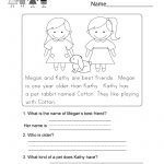 Reading Comprehension Worksheet   Free Kindergarten English   Free Printable Reading Passages With Questions