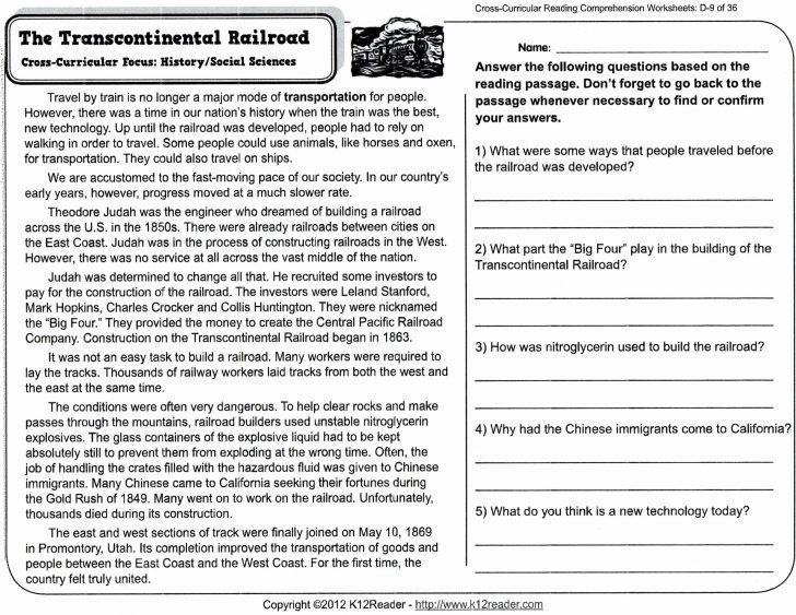 Free Printable Reading Comprehension Worksheets