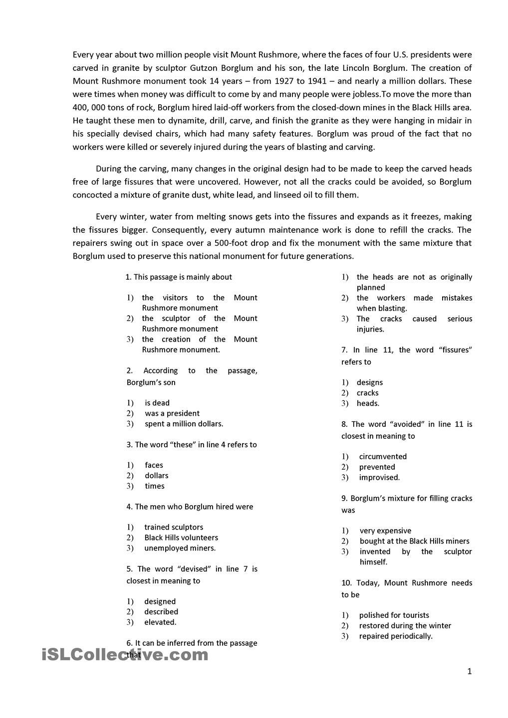 Reading With 10 Multiple Choice Questions | Esl 2 | Comprehension - Free Printable Multiple Choice Worksheets