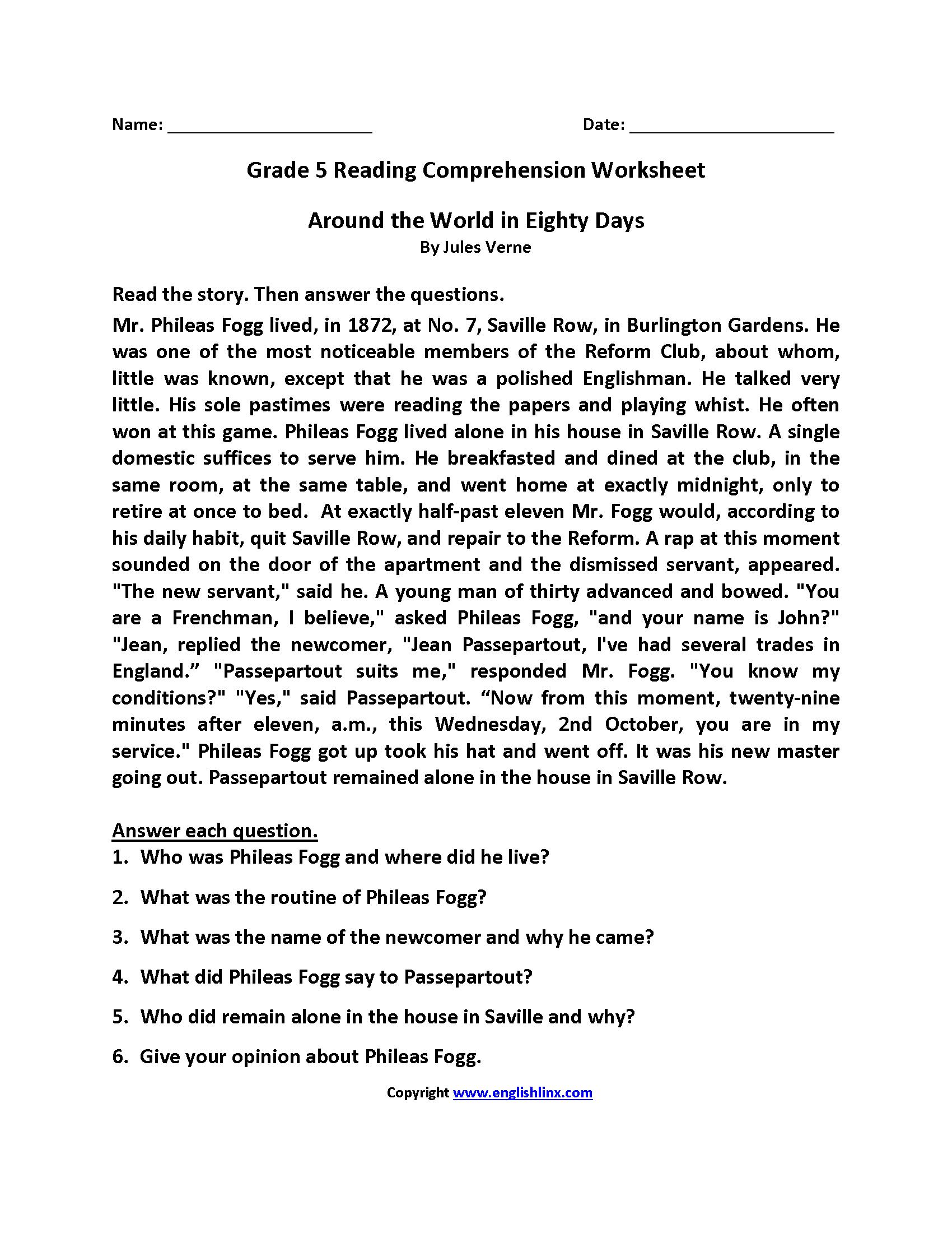 Reading Worksheets | Fifth Grade Reading Worksheets - Free Printable Reading Worksheets For 5Th Grade