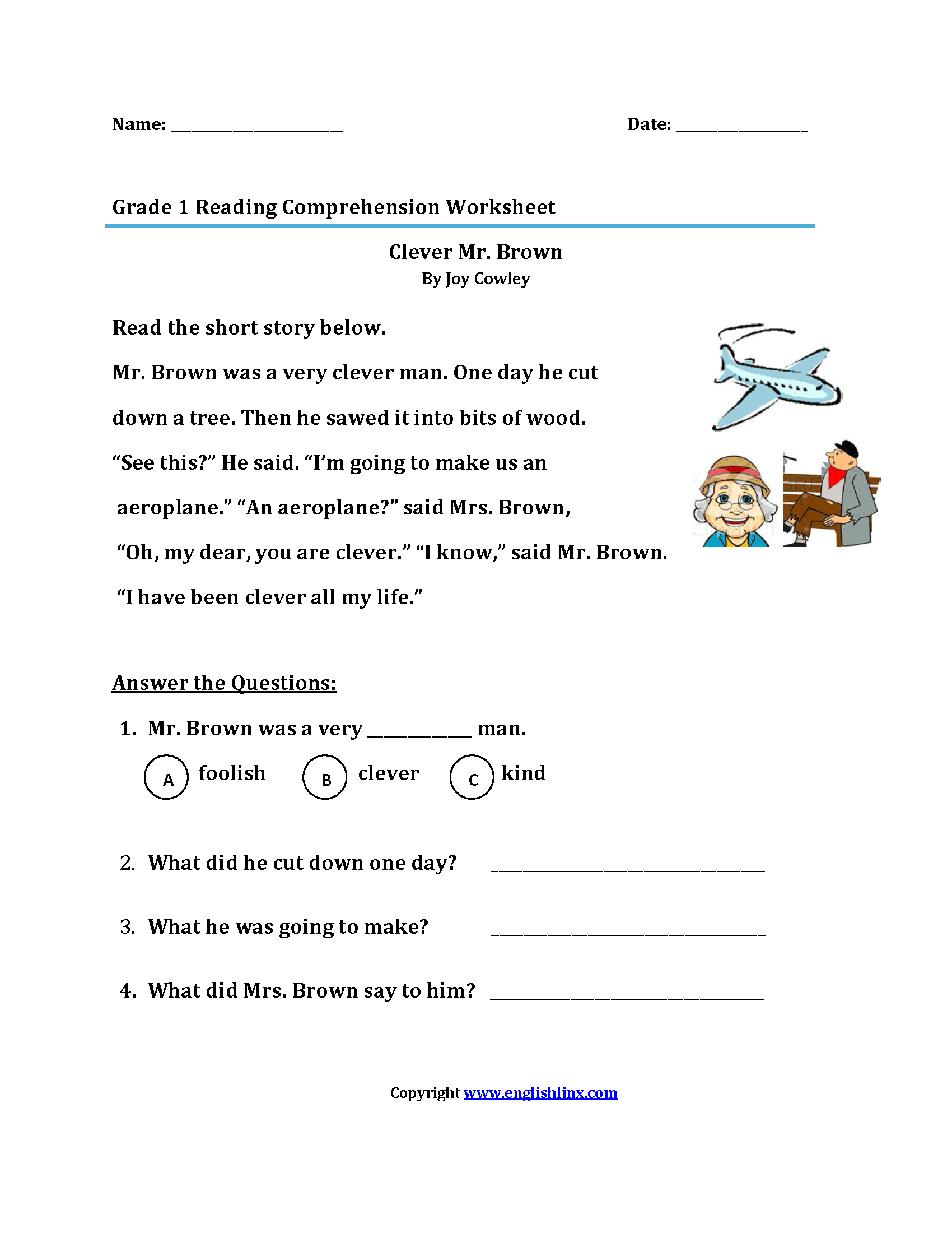 Reading Worksheets | First Grade Reading Worksheets - Free Printable Reading Assessment Test