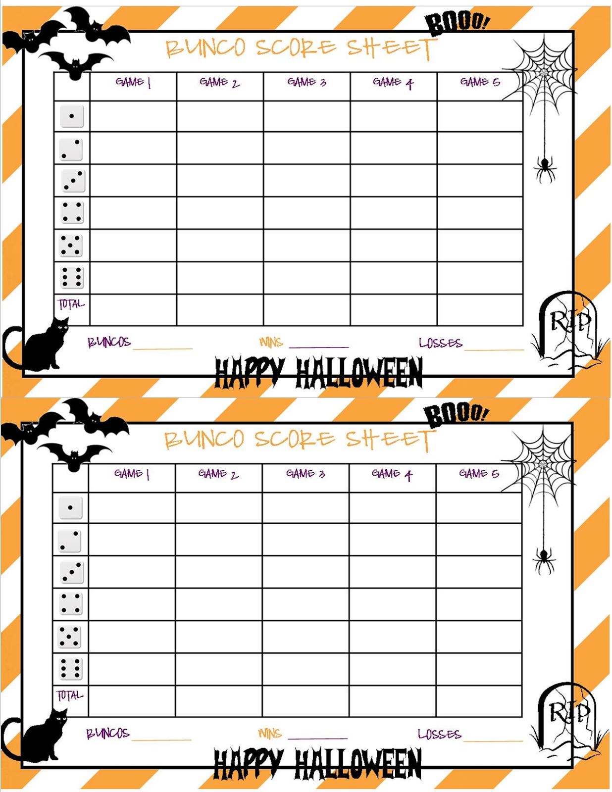 Recipes From Stephanie: Halloween Bunco Sheet - Free Printable Halloween Bunco Score Sheets