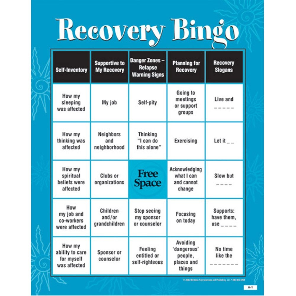 Recovery Bingo! Game For Adults | Addiction & Recovery | Group - Free Printable Recovery Games