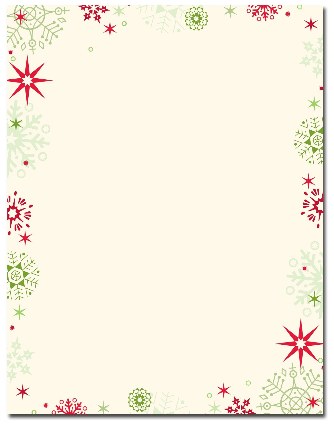 Red & Green Flakes Letterhead | Holiday Papers | Christmas - Free Printable Christmas Stationary Paper