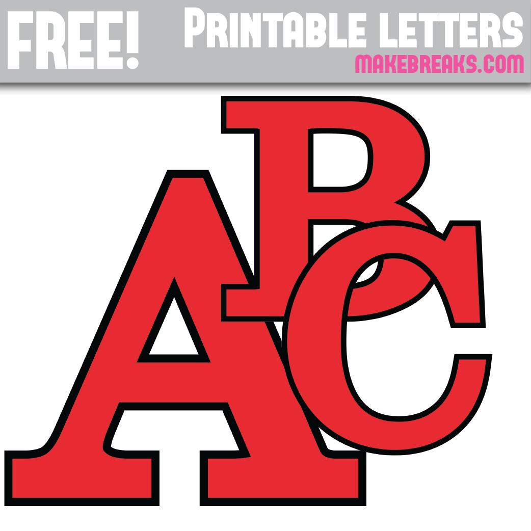 Red With Black Edge Free Printable Alphabet | Free Printables, Free - Free Printable Colored Letters Of The Alphabet