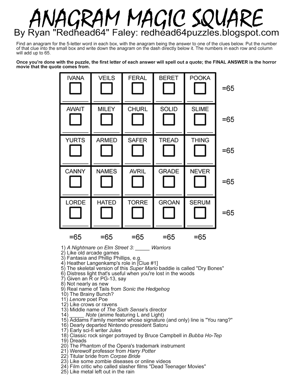 Redhead64's Obscure Puzzle Blog!: Halloween Month! Puzzle #45 - Free Printable Anagram Magic Square Puzzles