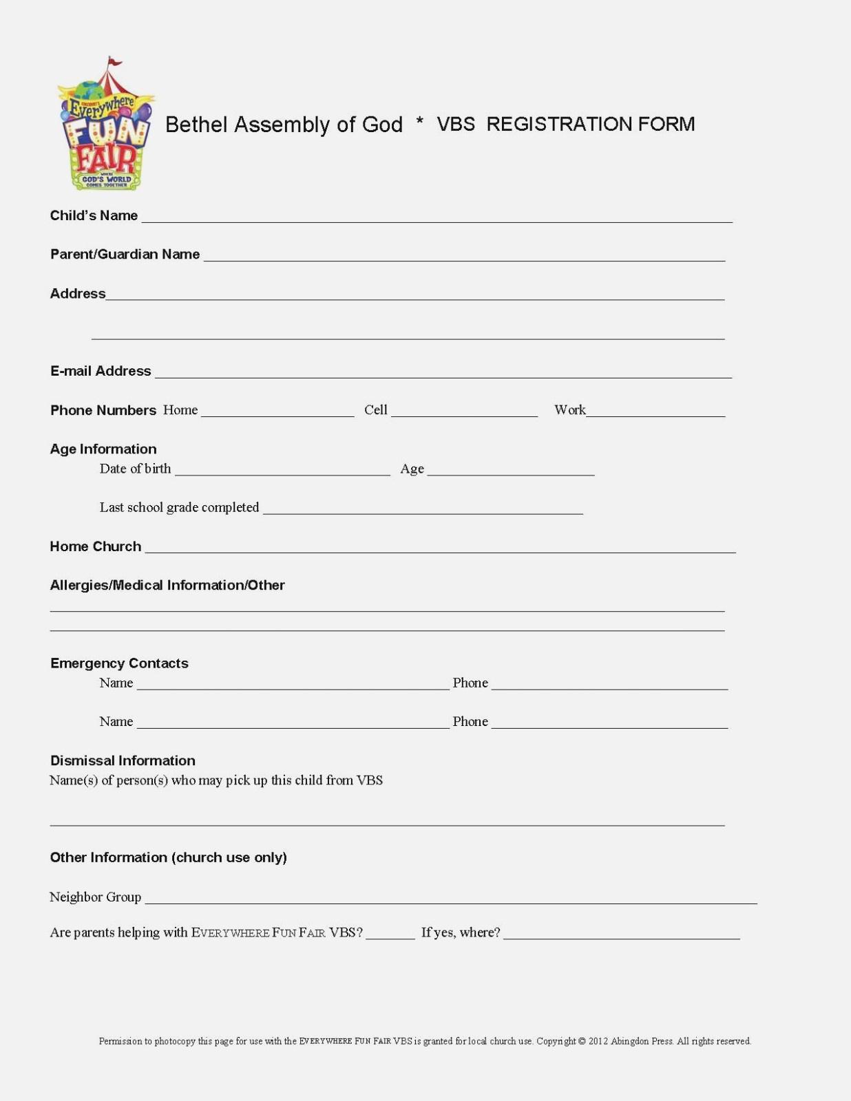 Registration Form For Vbs – Heart.impulsar – Form Information - Free Printable Vbs Registration Forms