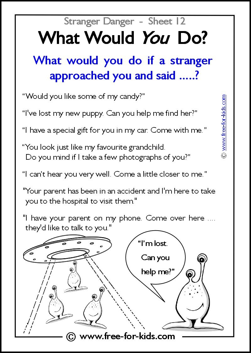 Responsibility Activity Sheets | More Stranger Danger Worksheets And - Free Printable Good Touch Bad Touch Coloring Book