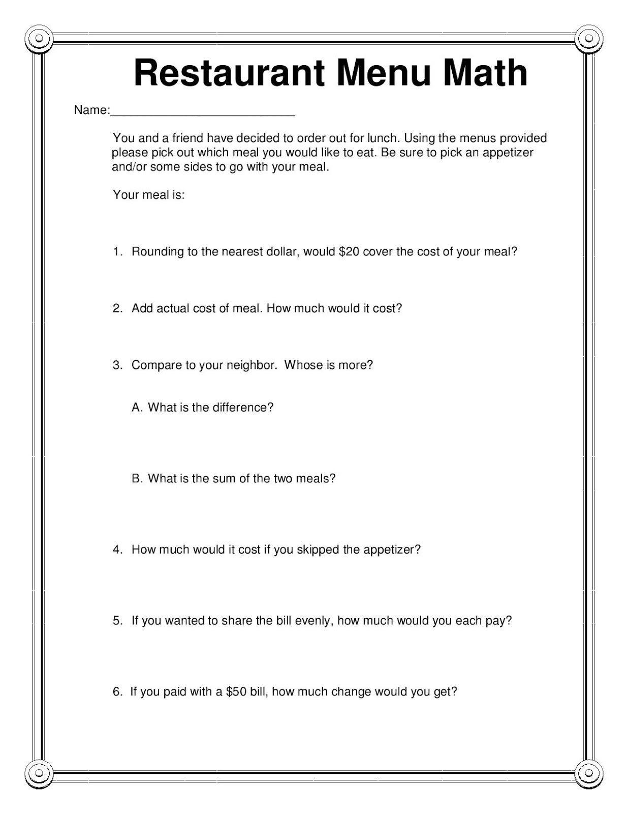 Restaurant Menu Math Freebie | Things For My Classroom | Elementary - Free Printable Menu Math Worksheets